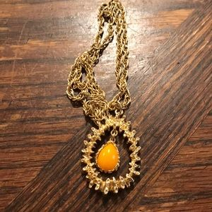 Sarah Coventry necklace with orange center